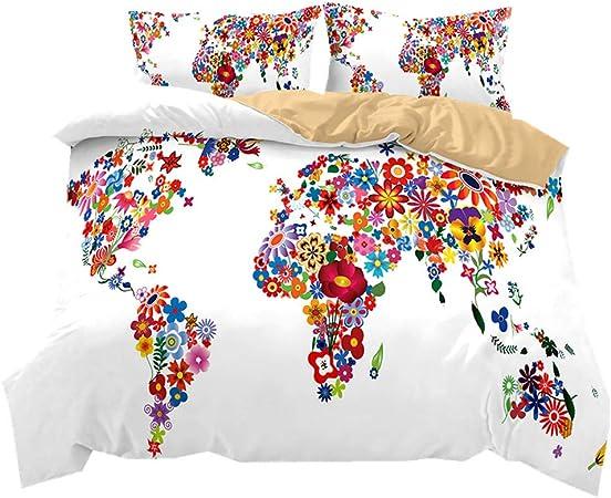 Literie Carte du Monde coloré Style Housse de Couette et taie d\'oreiller  Fibre 100% Polyester (Carte du Monde des Fleurs, 220 x 260 cm)