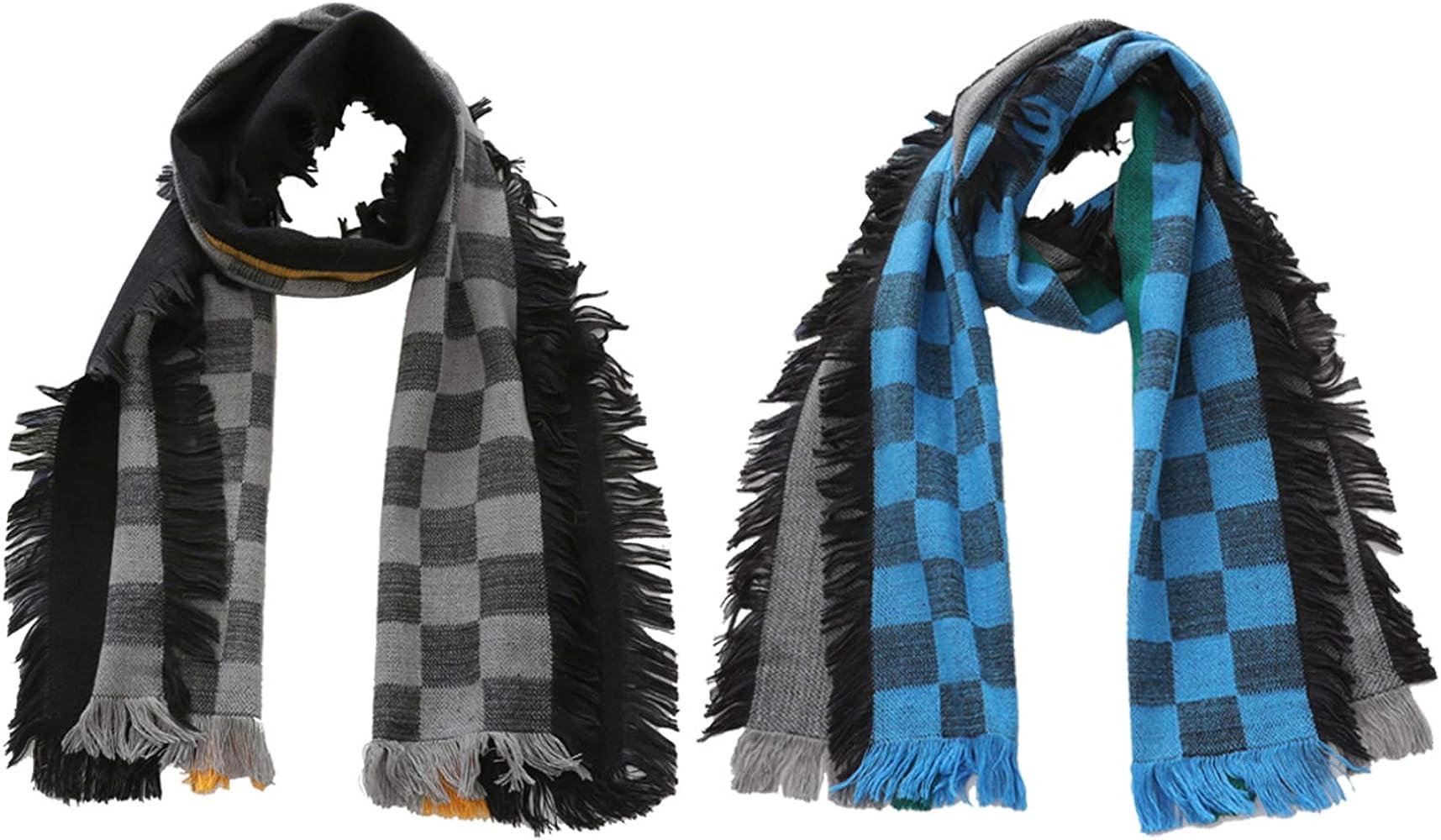 Amazon.com: 2pcs Kids Scarfs Girls Boys Grid Warm Shawl Scarves  (gray+blue): Clothing