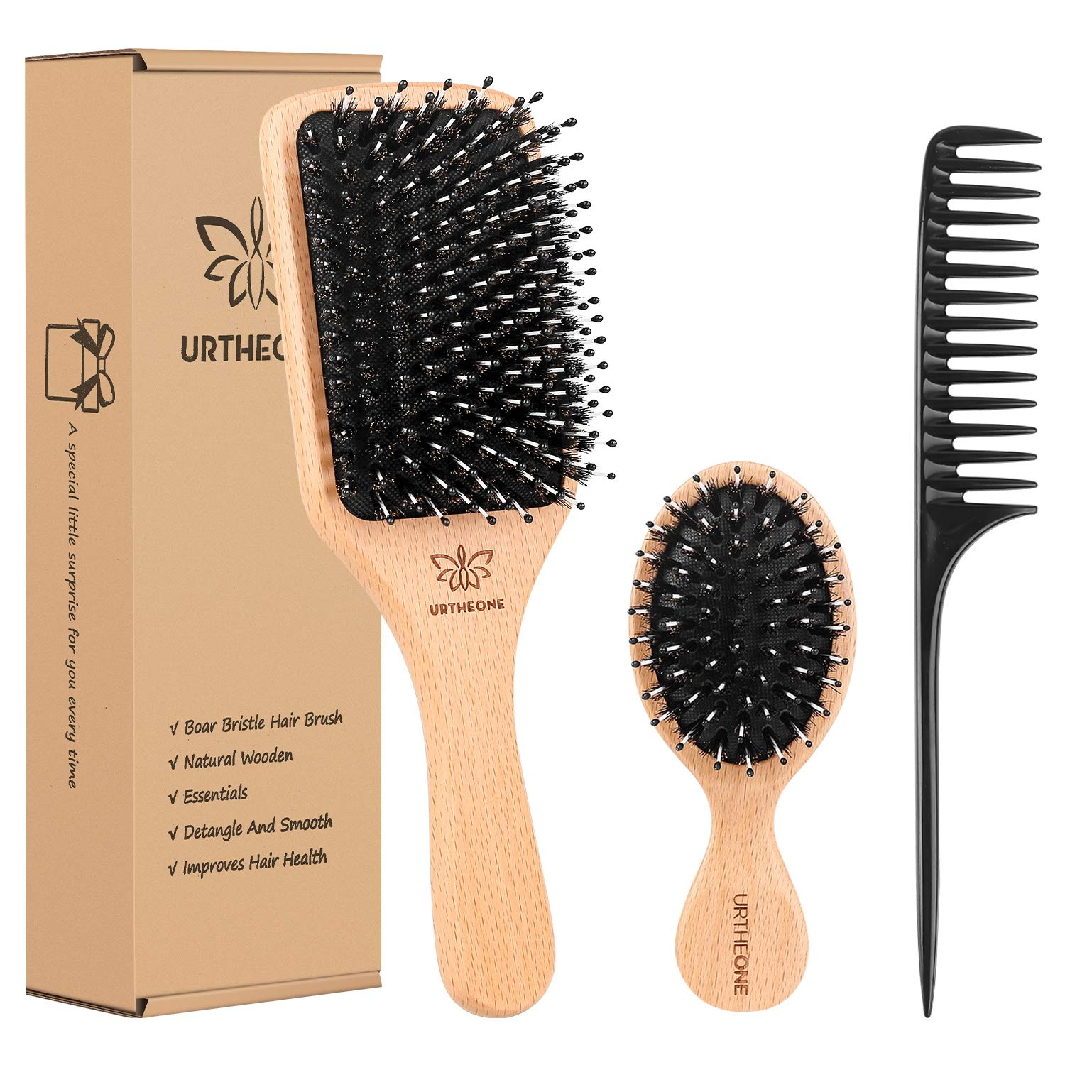 Boar Bristle Hair Brush and Comb Set for Women Men Kids, Best Natural Wooden Paddle Hairbrush and Small Travel Styling Brush for Wet or Dry Hair Detangling Smoothing Massaging