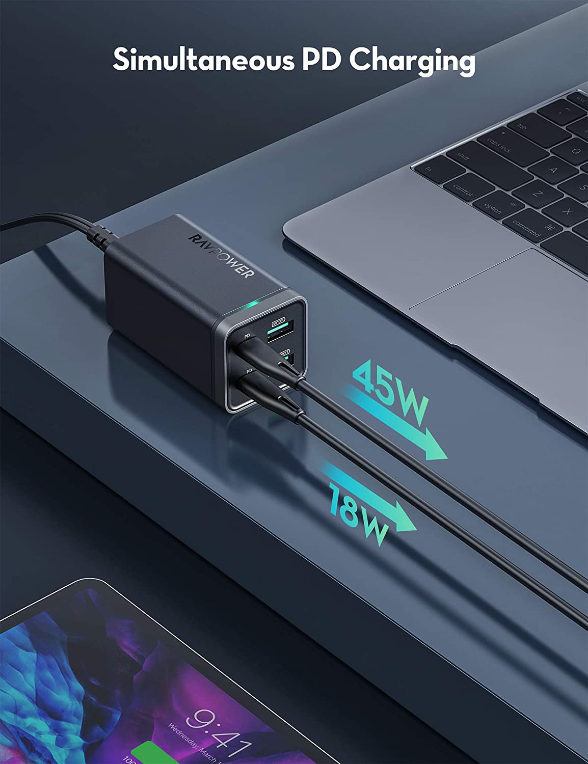 USB C Charger, RAVPower 65W 4-Port Desktop USB Charging Station [GaN Power Tech] with 2 USB C Ports + 2 USB A Ports for MacBook Pro/Air, Dell XPS 13, iPad Pro, iPhone, Nintendo Switch, Galaxy and More