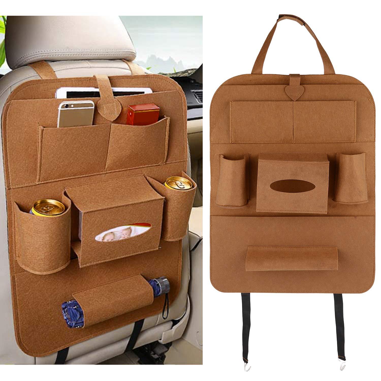 Car Back Seat Organizer Waterproof Backseat Car Storage Pocket Kick Mats Back Sear Car Protector for Kids - 8 Compartments (Brown) Qiotiy