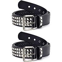 Punk Leather Belt,Studded Belt Square Beads Rivet Belt Metal Pyramid Belt for Jeans