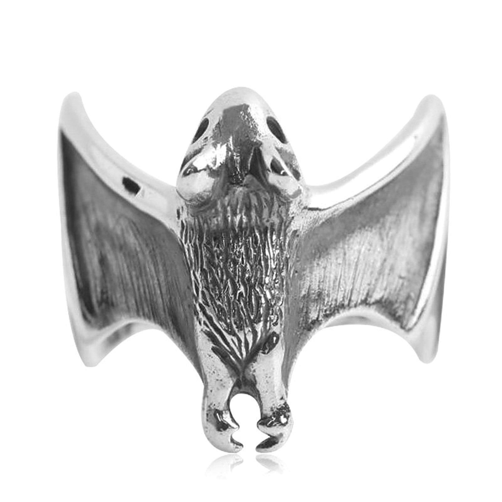 Adisaer Biker Rings Silver Ring for Men Adjustable Bat Ring Size 8 Vintage Punk Jewelry