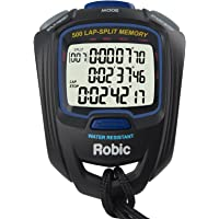 Robic sc-757W 500Dual Memoria cronómetro, Color Negro/Azul