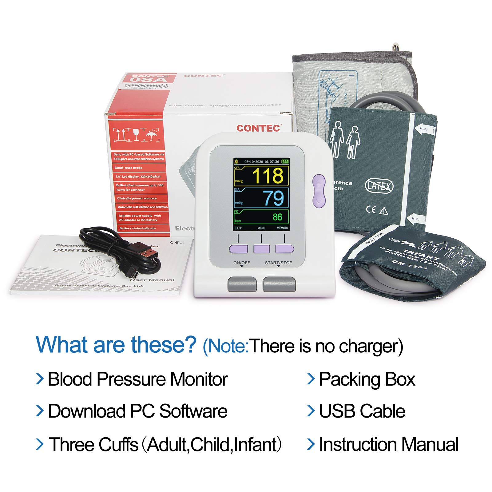 FDA Approved Fully Automatic Upper Arm Blood Pressure Monitor 3 Mode 3 Cuffs Electronic Sphygmomanometer