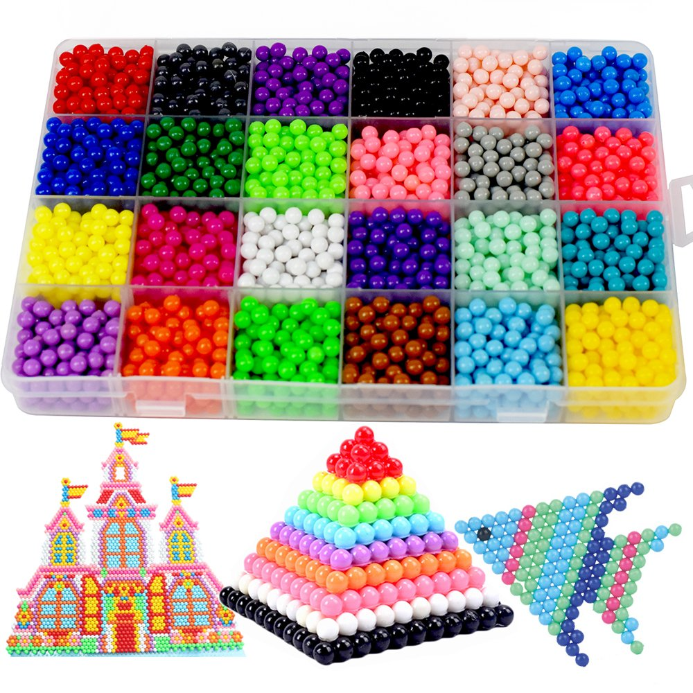 Fuse Beads Kit, 24 Colors with DIY Pegboard and Full Set Accessories Fun Craft Beads for Kids Magic Water Sticky Beads