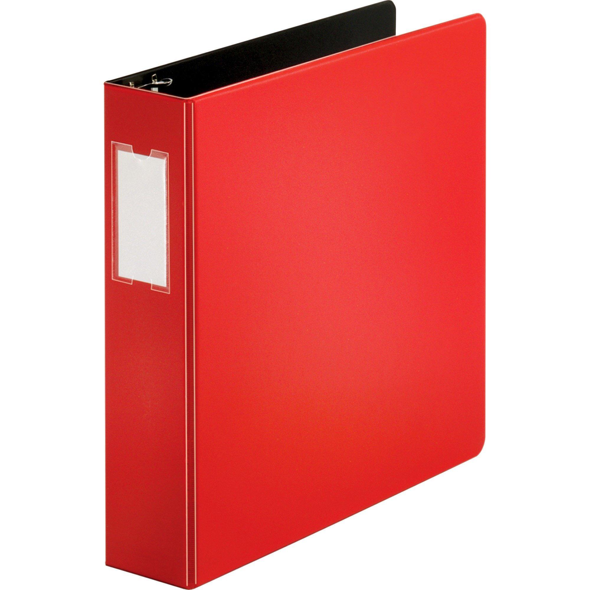 Source Slanted D-Ring Binder [Set of 2] Color: Red, Size: 2''