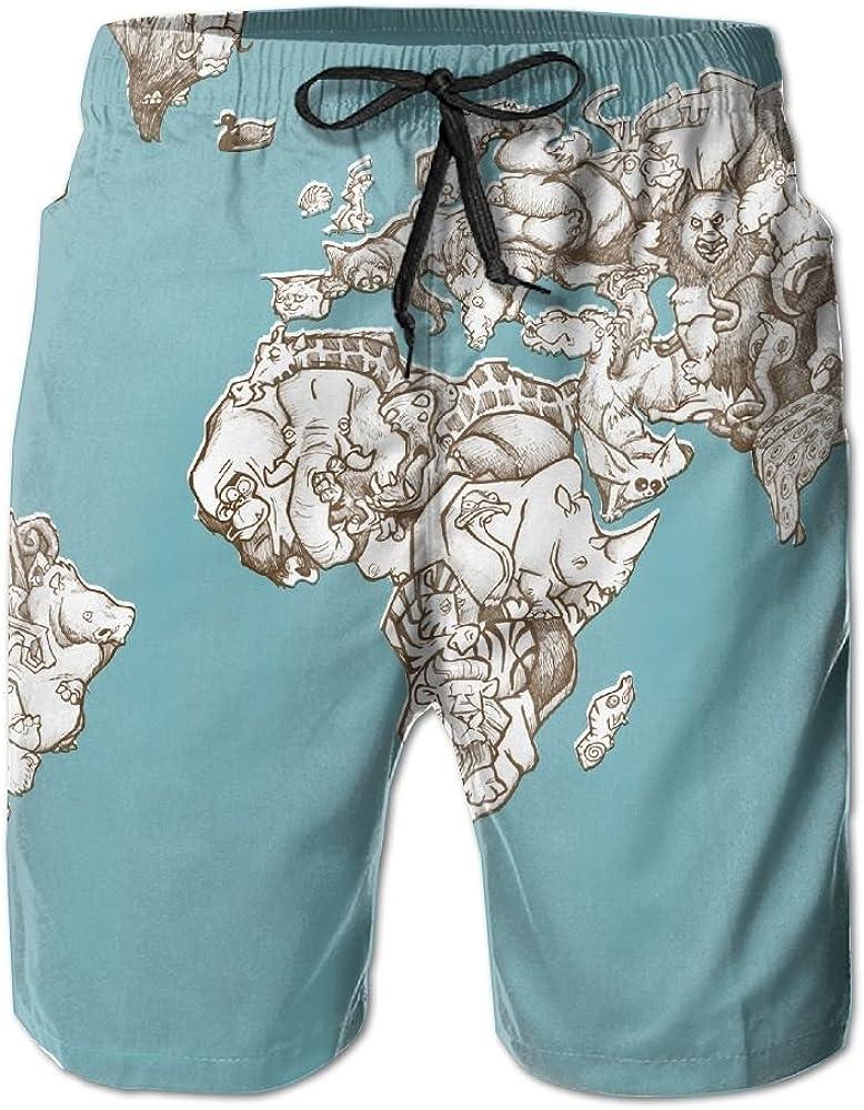 LUASD Mens Animal Artistic Map Quick Drying Breathable Surf Pants Swim Trunks
