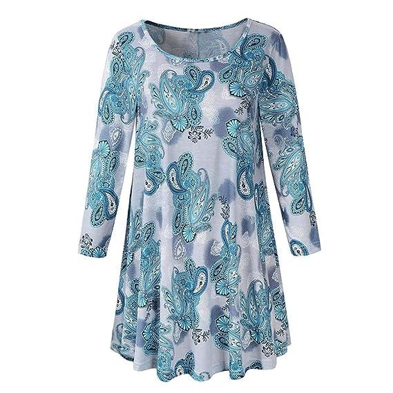 ❤ Tefamore Mujeres Casual Manga Larga O-Cuello Estampado Blusa Larga Camisa Suelta Tops Moda Camiseta Vestido Tunic Tops: Amazon.es: Ropa y accesorios