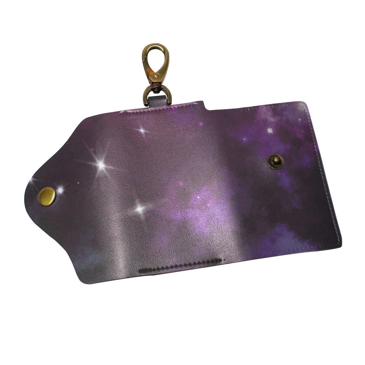 DEYYA Triangulum Galaxy Outer Space Leather Key Case Wallets Unisex Keychain Key Holder with 6 Hooks Snap Closure