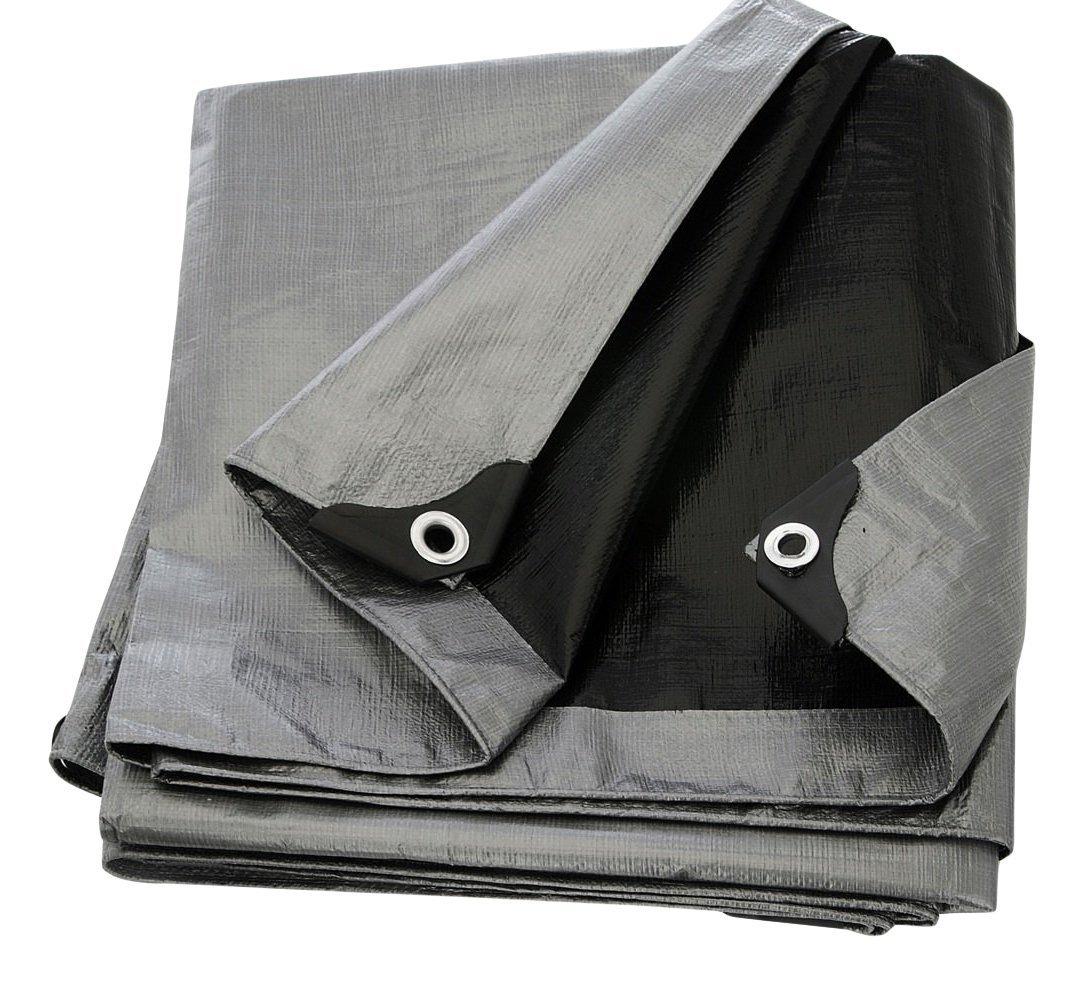 Comfitwear 30' x 50' Heavy Duty Silver/Black Waterproof UV Blocking 10 Mil Poly Tarp