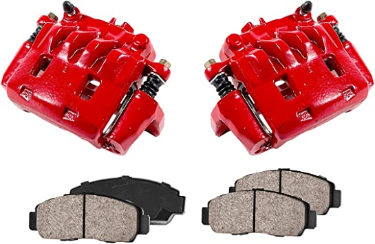 FRONT Performance Loaded Powder Coated Red Caliper Assembly CCK11967 2 Quiet Low Dust Ceramic Brake Pads