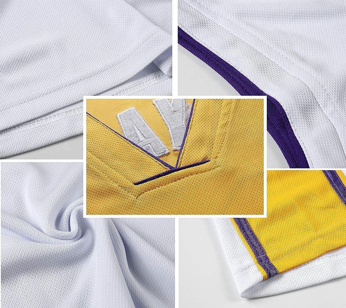 Short de Basket-Ball pour Homme Jersey James 23 Kobe 24 Bryant 8 pour Les Fans des Lakers Jersey Gilet de Sport Haut sans Manches T-Shirt /équipement de Basket-Ball num/éro de Ballon brod/é et Logo