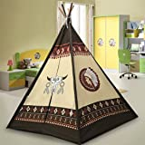 EasyGo Products Indoor Tee Pee Tent – 6 Foot Tall Classic Indian Play Tent for Kids with Five Wood Poles and Carry Bag – Five-Sided Walls with Door, Window and Floor (Printed TeePee)