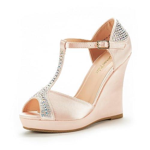 b958350fd84 Dream Pairs Women s Angeline-02 Champagne Satin Fashion Dress Wedges  Platform Heel Peep Toe Wedding