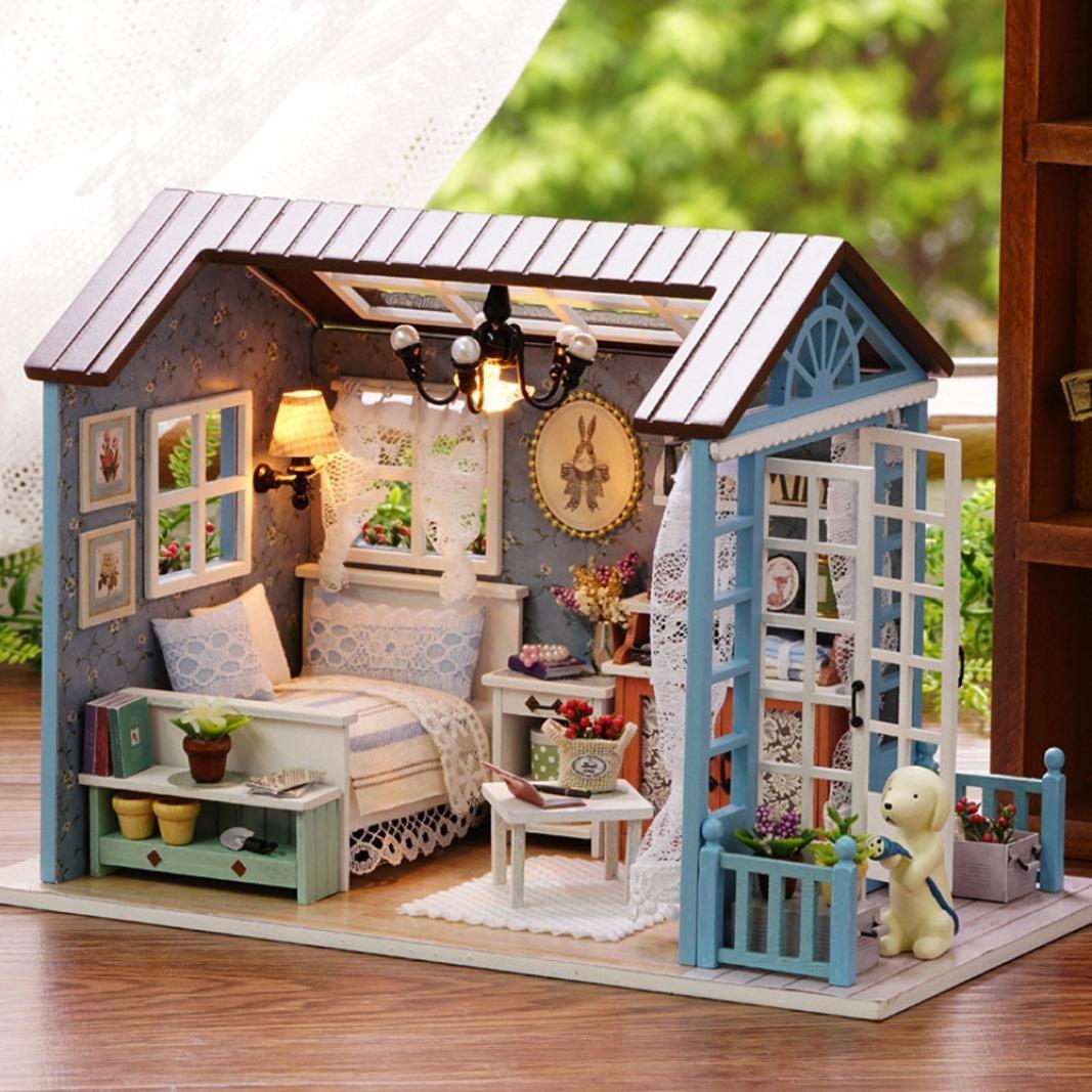 cinnamou 3D Puzzle - kreatives Geschenk Spielzeug - DIY Holzhaus mit Mö bel - Handwerk Miniatur Box (A)