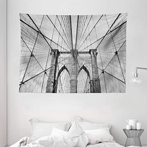 Ambesonne Landscape Tapestry, USA New York Brooklyn Bridge Cityscape Scenery Photo Print, Wide Wall Hanging for Bedroom Living Room Dorm, 80 X 60 , Charcoal Grey