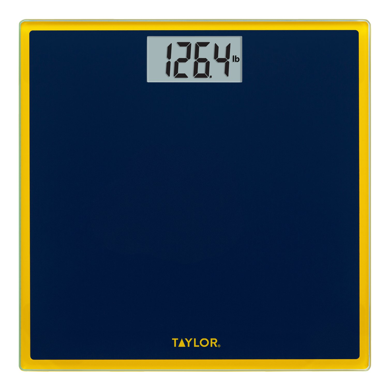Taylor Digital Glass Bathroom Scale (Dark Blue with Maize Trim)