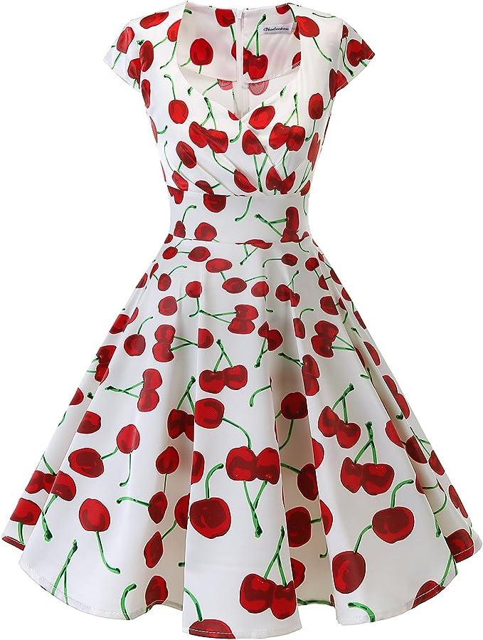 TALLA XS. Bbonlinedress Vestido Corto Mujer Retro Años 50 Vintage Escote En Pico White Red Cherry XS