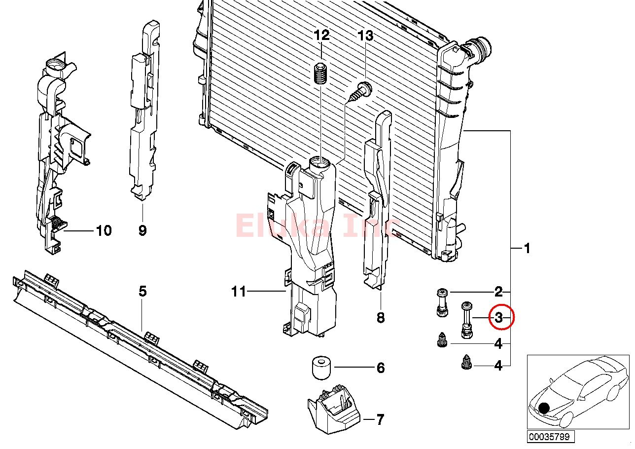 2005 bmw z4 radiator support diagram
