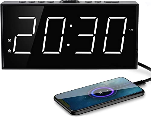 Digital Alarm Clocks,Digital Clock LED Large Number Display,Alarm Clock USB Charger,Dimmer,AC Powered Battery Backup,Easy Set Loud Alarm Clock Phone Charger