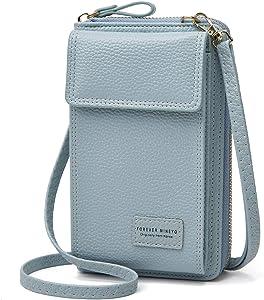 Jmart Crossbody Cell Phone Bag Wallet Case for iPhone 12 11 XS XR 8 7 Samsung Galaxy S21 S20 S10 S9 S8 A01 A11 A21 A51 A71 A10e Women Girls Shoulder Handbag Phone Pocket Pouch Card Holder [Blue]