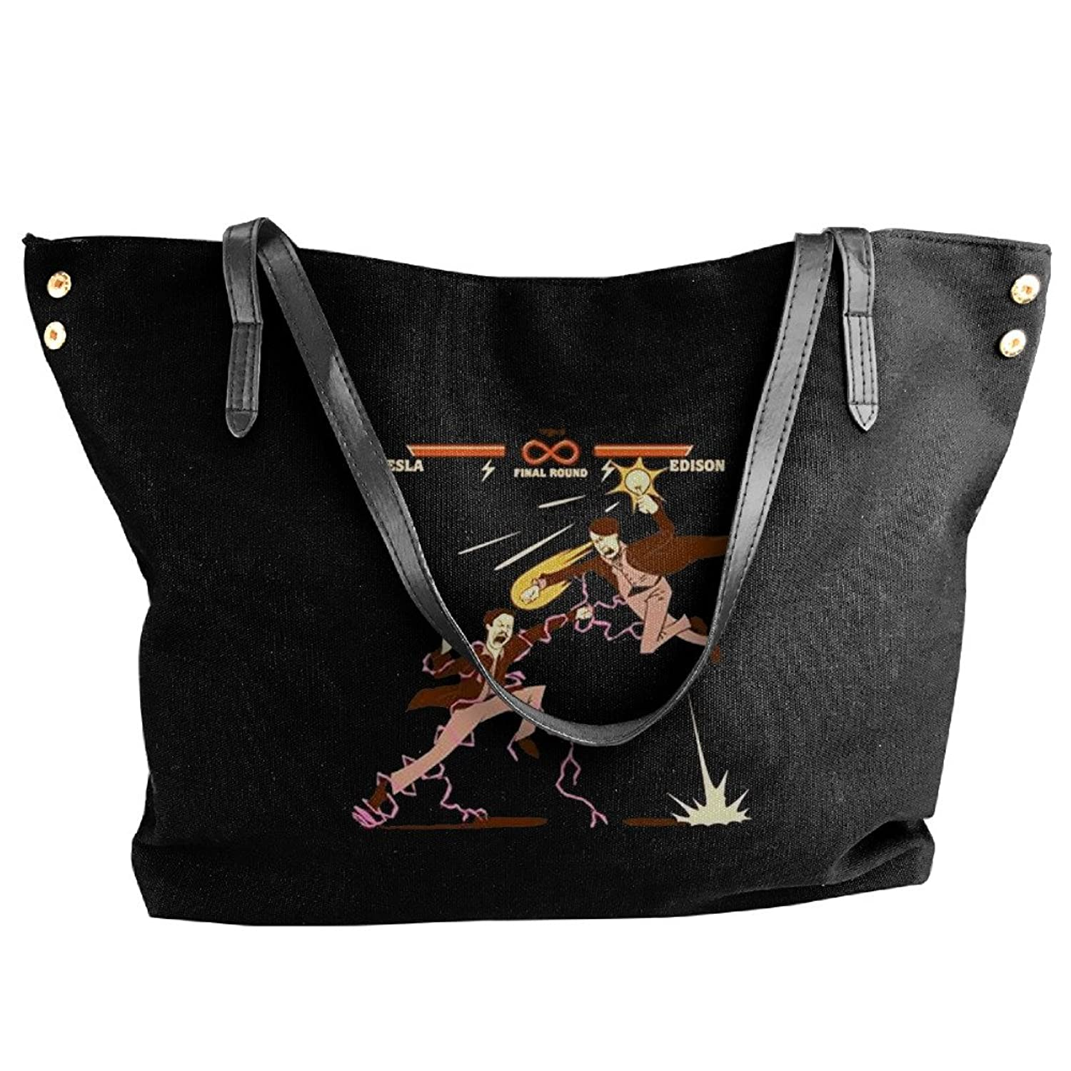 Funny Fight Game Famous Physicist Tesla VS Edison Designed Canvas Top Handle Handbags For Women
