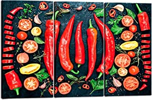 Welmeco Kitchen Spice Food Pictures Red Chilli Peppers Picture Canvas Prints Mexican Food Dining Room Wall Decoration Home Art Decor