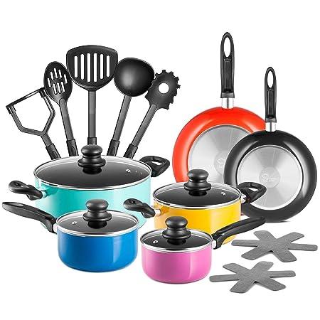 Chef s Star 17 Piece Professional Grade Aluminum Non-Stick Pots Pans Set – Premium Cookware Set – Multi-Color 1