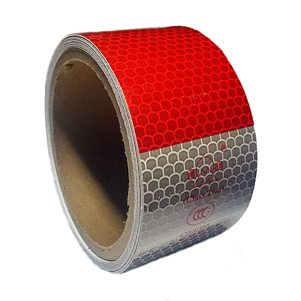 PerfecTech Dot-C2 2' X 10' White Red Conspicuity Dot Warning Safety Reflective Tape Film Sticker Roll Strip