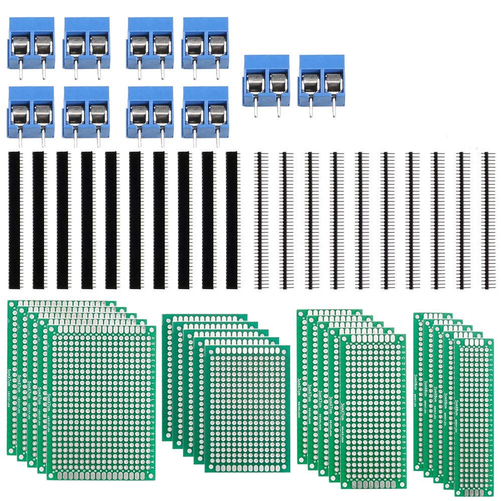 ManYee PCB Board 20pcs 4 Sizes Double Sided PCB Board Prototype Kit +20Pcs 40 Pin 2.54mm Male and Female Header Connector + 10PCs PCB Mount Screw Terminal Block for DIY Project