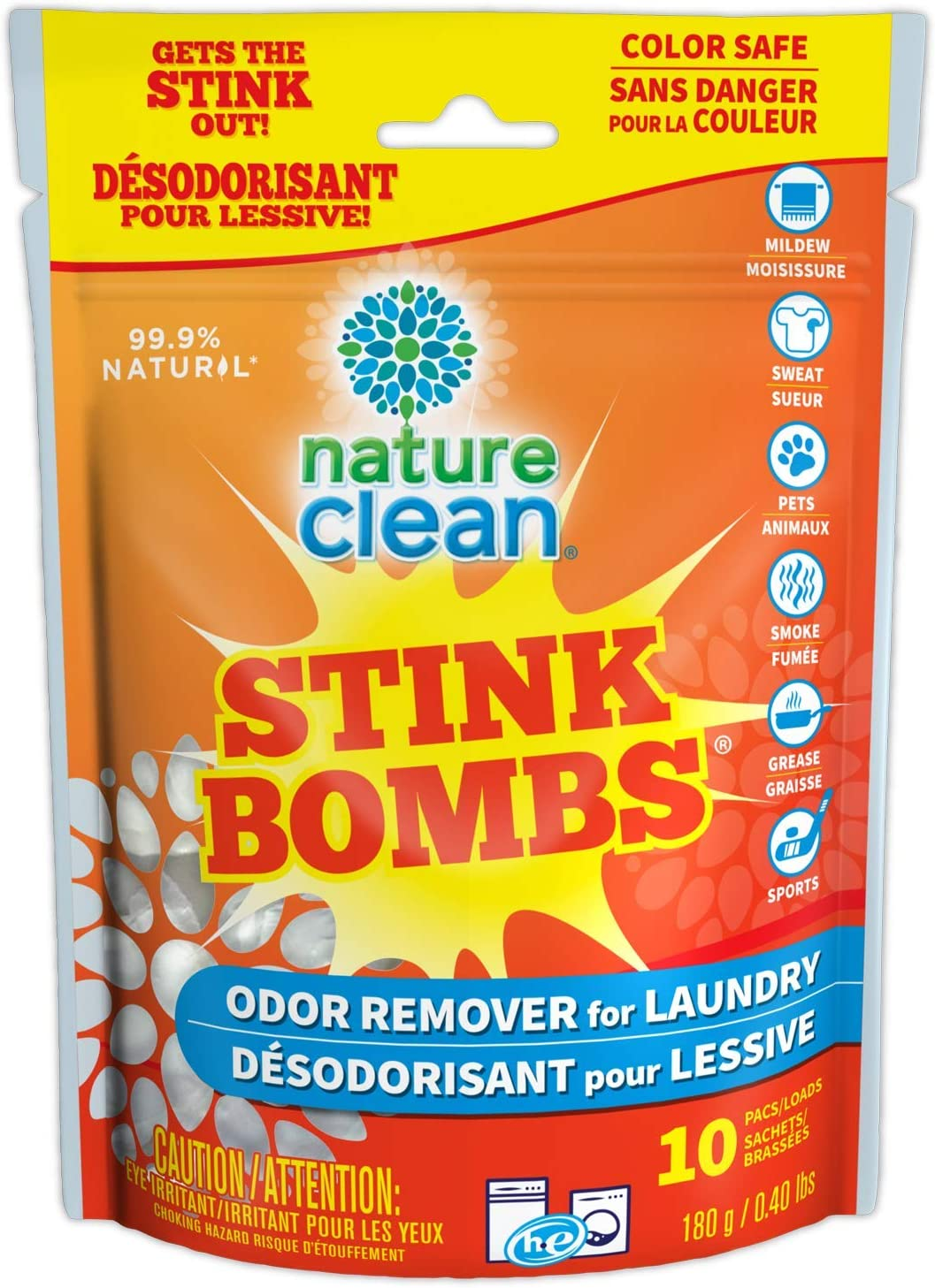 Nature Clean Stink Bomb Odor Remover Pacs for Laundry, 10 Count