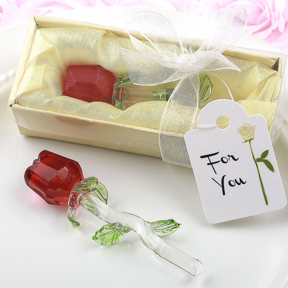 96 Crystal Glass Long Stem Red Roses