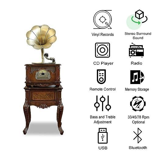 HYLH Sistema de Altavoces Bluetooth para Tocadiscos, Tocadiscos de ...