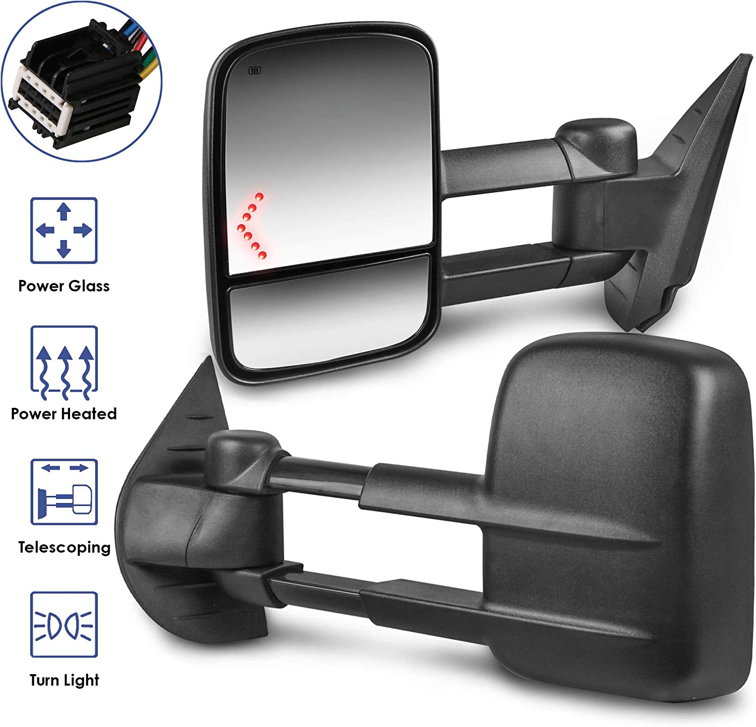 Set of 2 MOSTPLUS Power Heated Towing Mirrors Compatible for 2008-2013 Chevy Silverado Suburban Tahoe GMC Serria Yukon with Arrow Signal Light