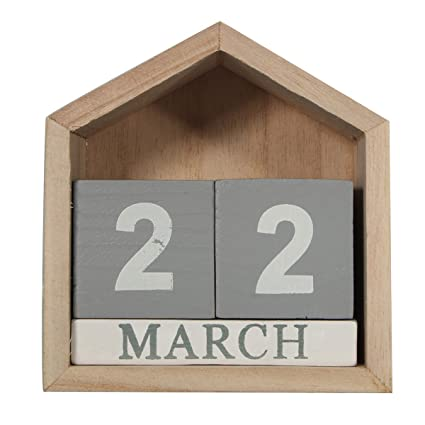 Amazon Com Jeteven Vintage Wood Perpetual Calendar Shabby Chic