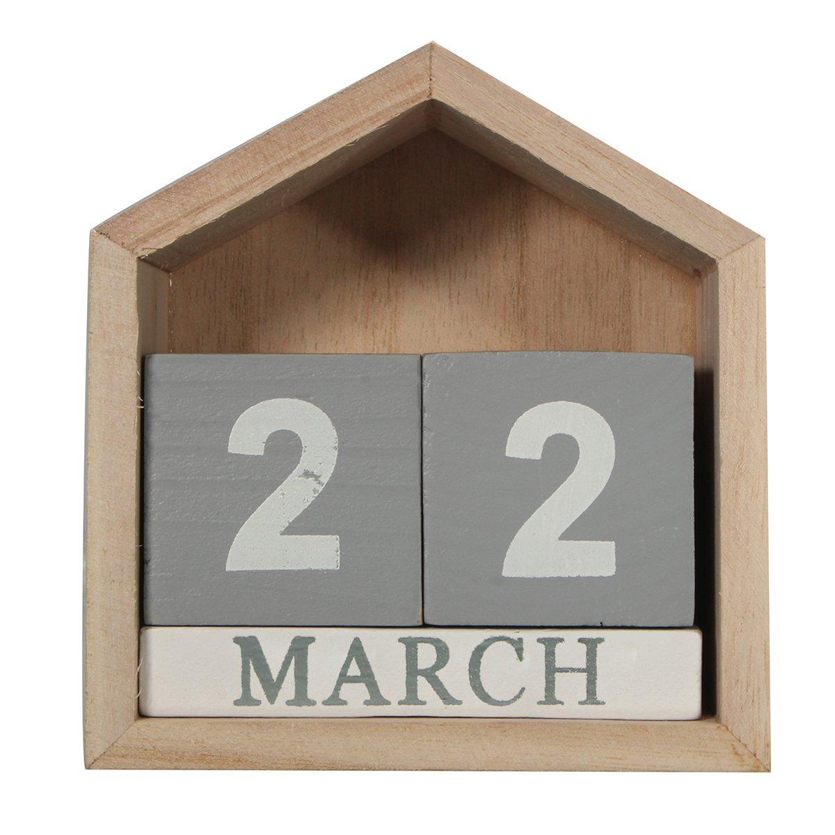 Jeteven Vintage Wood Perpetual Calendar, Shabby Chic Blocks Calendar Home Office Desktop Decoration, Grey, 4.33''X2.17''X4.53''