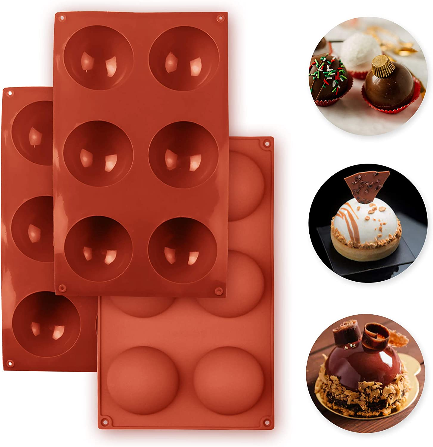 Funcook 6 Hole Silicone Sphere Mold for Chocolate Bombs, Candy, Mousse, and Baked Goods, Half Sphere Heat Resistant Baking Molds, Flexible and Reusable, 3 Pack