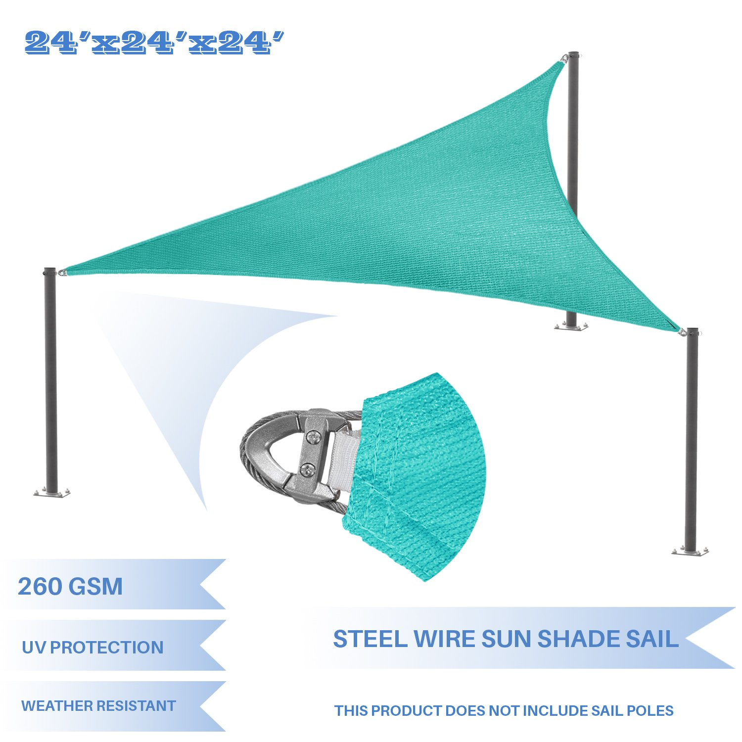 E K Sunrise Reinforcement Large Sun Shade Sail 24 x 24 x 24 Equilateral Triangle Heavy Duty Strengthen Durable Outdoor Garden Canopy UV Block Fabric 260GSM – 7 Year Warranty – Turquoise Green