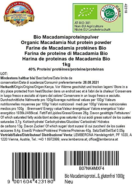 Harina de proteínas de Macadamia 40% Bio 1 kg ecológico, polvo, vegana, orgánica, low-carb protein powder 1000g