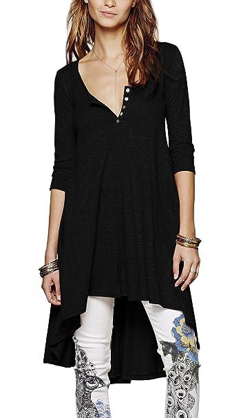 Urbancoco Damen kurz Ärmelige button down Asymmetrisch T-Shirt Sommer Tunika