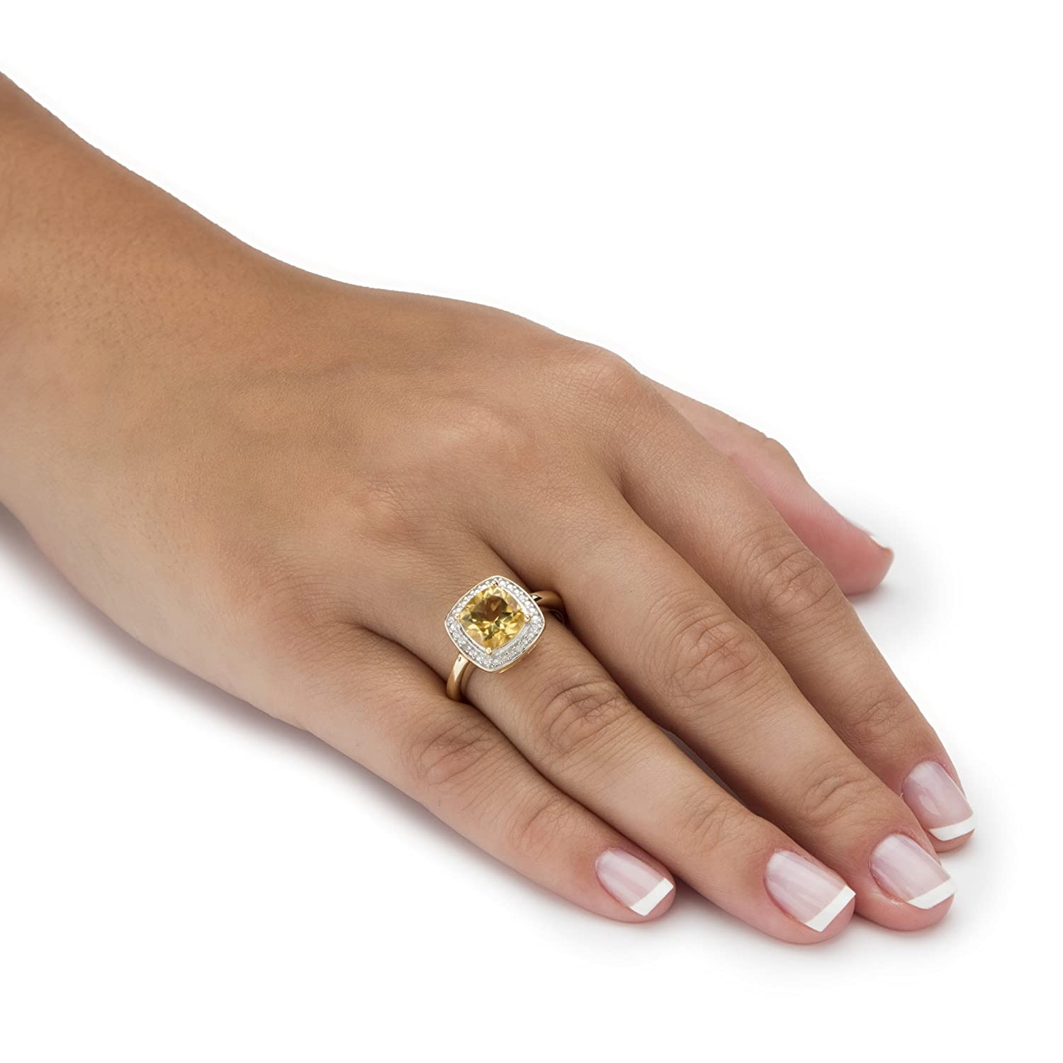 Genuine Cushion-Cut Yellow Citrine Diamond Accent 14k Gold over .925 Silver Halo Ring