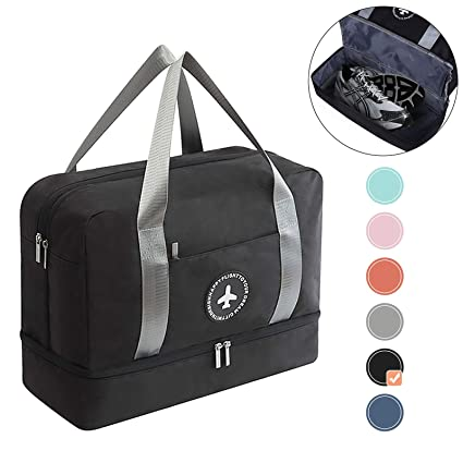 1ebccd350723 HOKEMP Gym Bag for Women Men Wet Bag & Shoes Compartment, Swim Bag Travel  Duffel Bag Lightweight Luggage Duffel 7 Color Choice