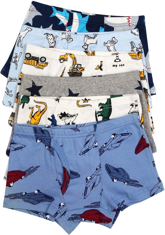 Auranso Boys Underwear Dinosaur Truck Toddler Boys Boxer Shorts Briefs 6 Pack Baby Kids Cotton Underpants 2-9 Years