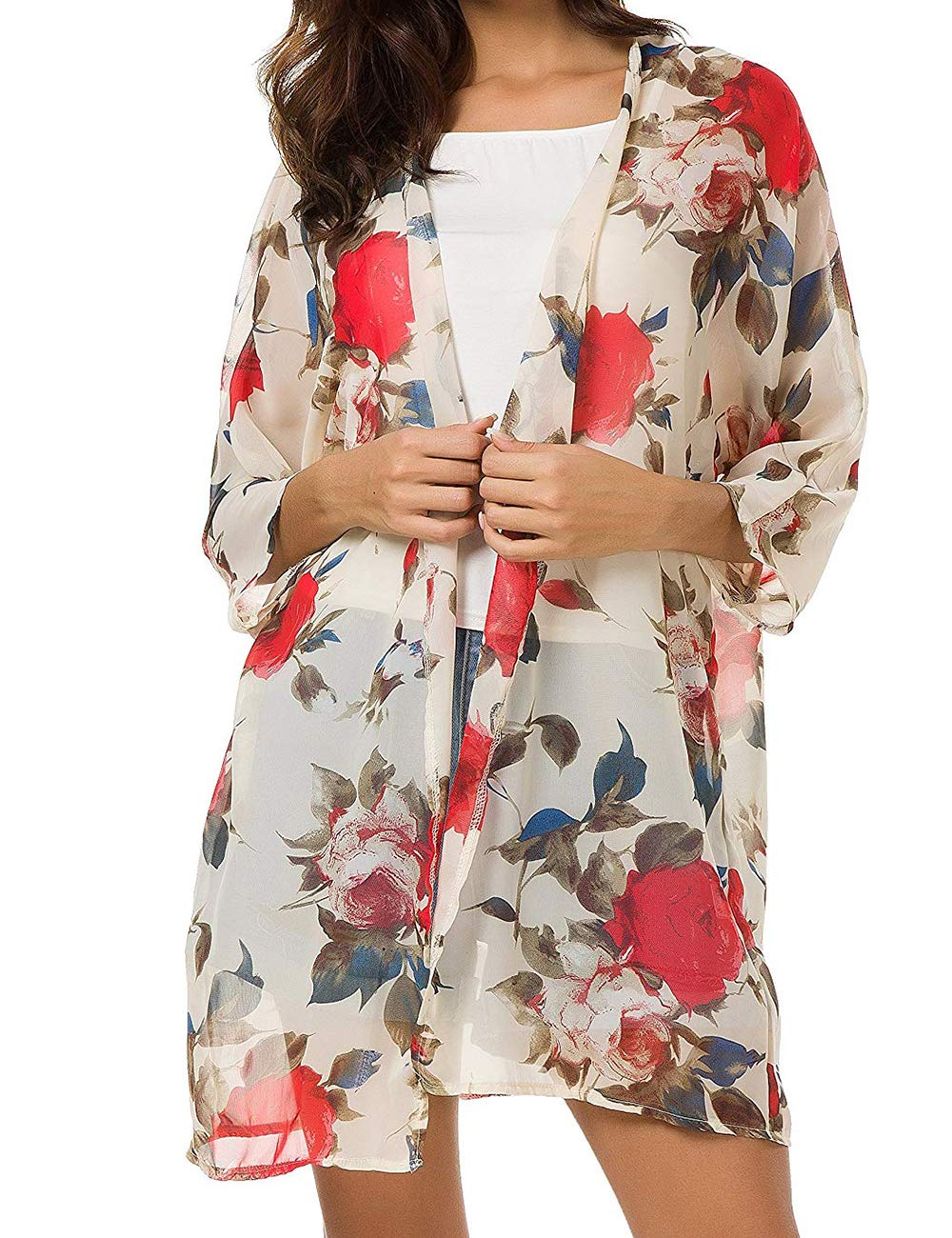 SunBoss Summer Top,Women Lightweight Open Floral Chiffon Cardigan Summer Night Outfit
