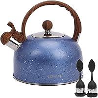 Hervidor de té, tetera de 2.8 cuartos de galón, hervidor de agua silbante, tetera de acero inoxidable para estufas de…