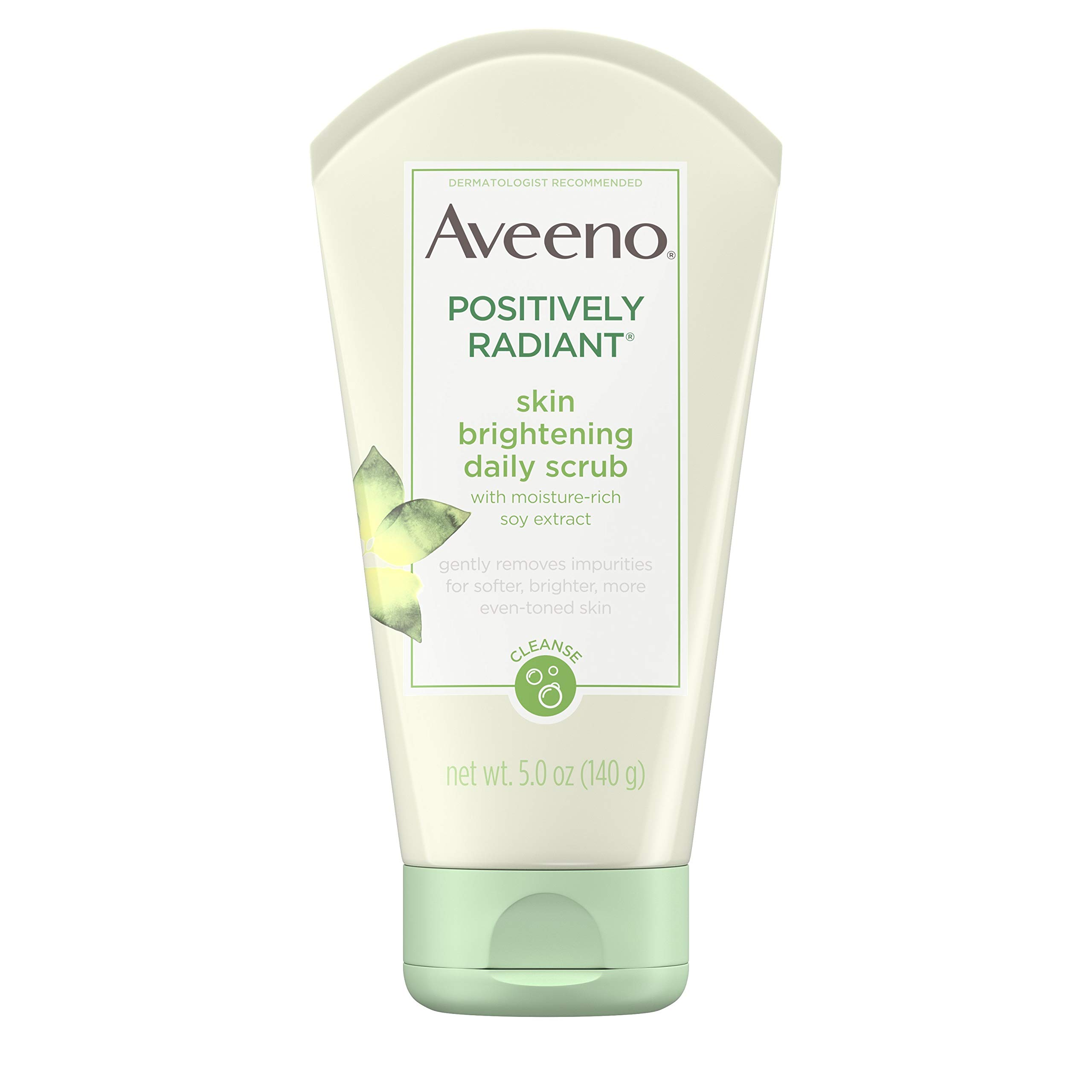 Aveeno Positively Radiant Skin Brightening Exfoliating Daily Facial Scrub with Moisture-Rich Soy Extract, Jojoba & Castor Oils, Soap-Free, Hypoallergenic & Non-Comedogenic Face Cleanser, 5 Oz