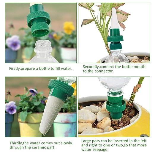 LegendTech Kit de Herramientas de Jardín 4 Permeator Automático de Agua Botella de Ceramica Adaptador de Espiga de Agua y Diente de la Grieta Pala De Punta ...