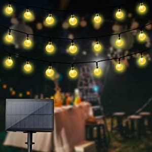 Solar String Lights with Remote Control 60 LED 33ft Outdoor Waterproof Solar Powered Crystal Ball (1 inch) Decorative Lights for Garden, Patio, Yard, Home, Chrismas Tree, Parties (Warm White)