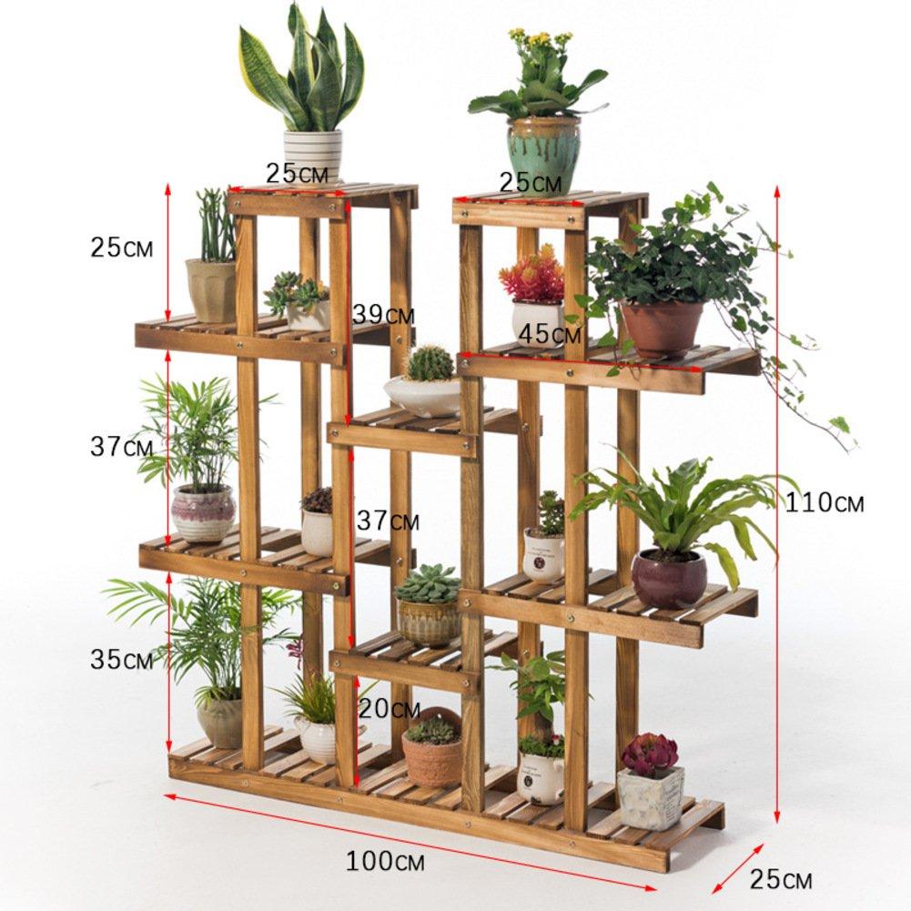 Balcony wooden living room flowerpot rack hundred step style flower racks-A by Flower racks